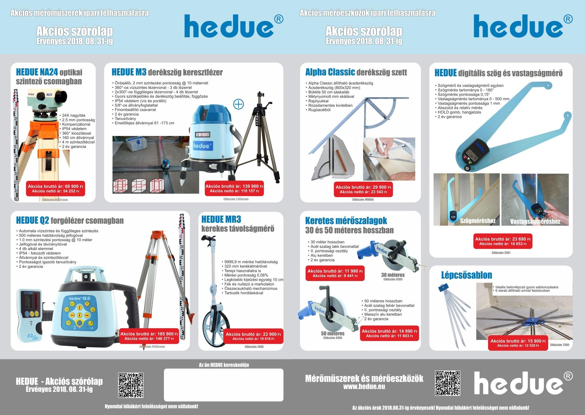 HEDUE akció mérőműszer és mérőeszköz ajánlat