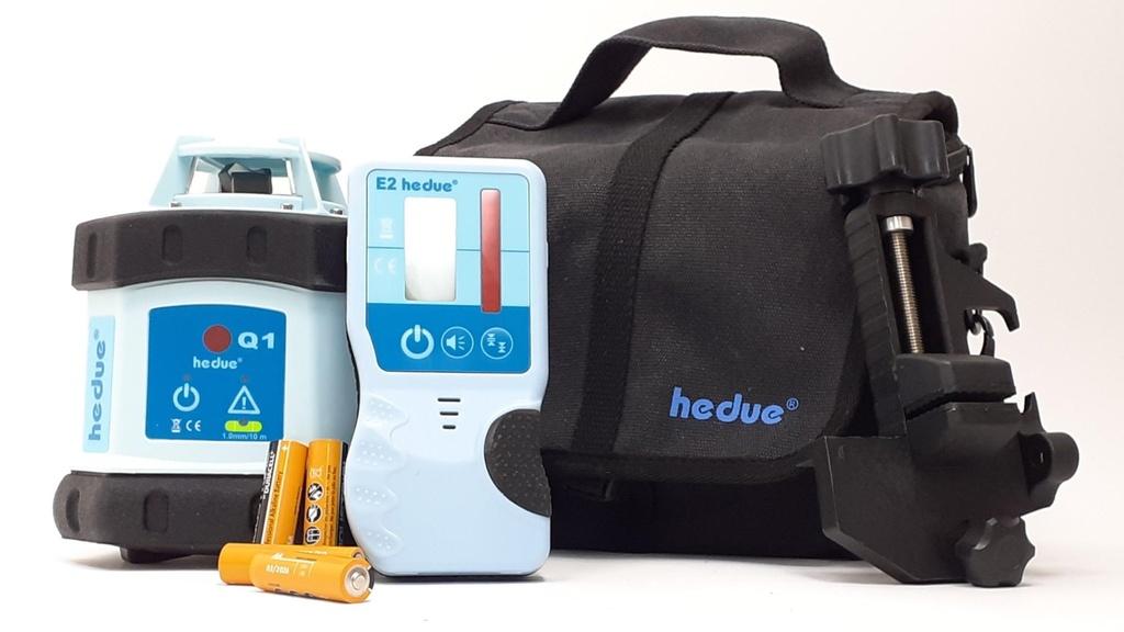 hedue Q1s forgólézer jelfogóval elemekkel táskában