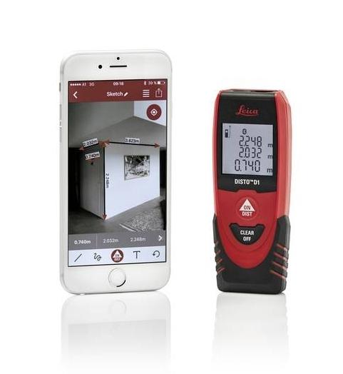 Leica Disto D1 lézeres távolságmérő Bluetooth kapcsolattal és ingyenes Disto Sketch alkalmazással